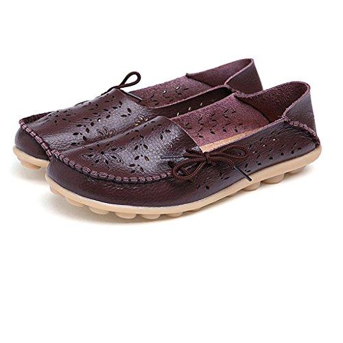 Mocassins Flats Loafers De Cuir Chaussures Casual Bateau Ville Oriskey Café Femme gdqBga