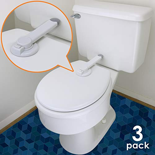Baby Toilet Lock - Ideal Baby Proof Toilet Lid Lock with Arm - No Tools Needed Easy Installation with 3M Adhesive - Top Safety Toilet Seat Lock - Fits Most Toilets (3 Pack, White)