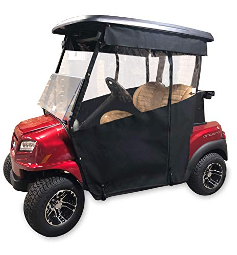 (Black Golf Cart Cover - 3-Sided Track Style Marine Grade Vinyl Cart Cover for EZGO TXT (93-13) - Rain Cover for Golfers, EZGO Golf Cart Cover - Fits Golf Bags, Utility Box or Rear Facing Seat)