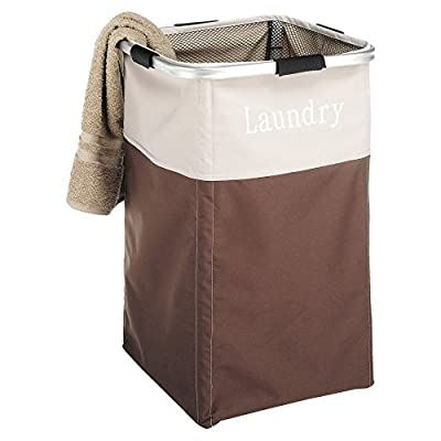Whitmor Easycare Laundry Hamper, Espresso - Dimensions: 13.5W x 13.5D x 21.25H in. Polyester material Beige, brown finish - laundry-room, hampers-baskets, entryway-laundry-room - 41FjrtuCtIL. SS400  -