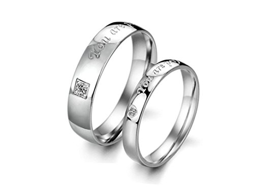 Beydodo 1PCS Stainless Steel Ring 7 Engraving You Are Perfect In My Heart Width Wedding Rings Mens by Beydodo