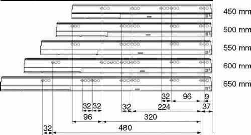 559.5001B 50 kg li//re NL= 500mm TANDEMBOX BLUMOTION Korpusschiene Vollauszug