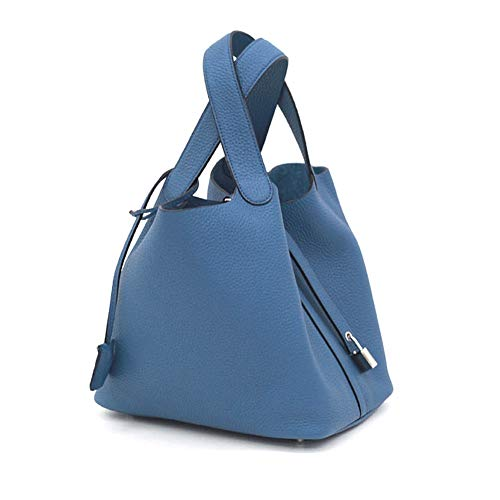 LUX TOGO PICO BAG With Key Cover (22 / 30cm) / BLUE ~[made in Korea] Togo Genuine Leather Womens - Bag Picotin