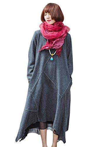 (YESNO AD5 Women Loose Wool Dress A Line Skirt Lined Stitch Irregular Dip Hem Long Sleeve)