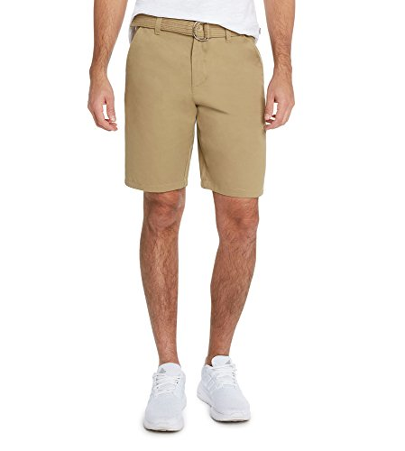 Khaki Front Short Flat (9 Crowns Men's Flat Front Modern fit Twill Chino Belted Shorts Essentials-Khaki-32)