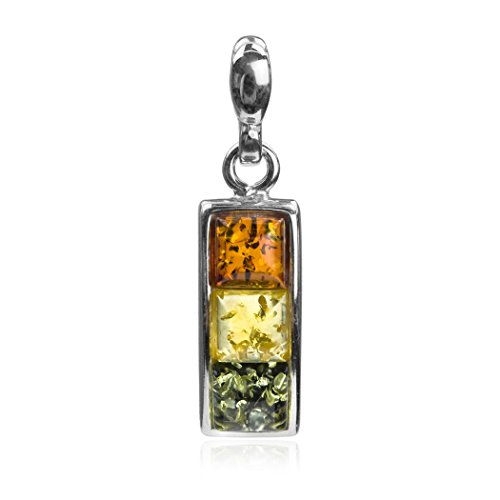Sterling Silver Multicolor Amber Square ()