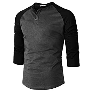H2H Mens Casual Premium Slim Fit T-Shirts Henley 3/4 Sleeve Summer Clothes