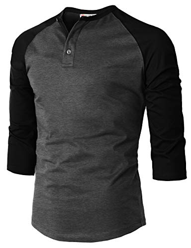 b5170037e43063 H2H Mens Casual Premium Slim Fit T-Shirts Henley 3/4 Sleeve Summer Clothes