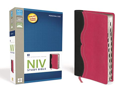 NIV Study Bible, Leathersoft, Gray/Pink, Indexed, Red Letter Edition