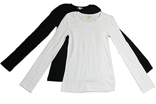 Woman Coral Plain Long Sleeve T-Shirt Crew Neck 2 Pk Black, White S