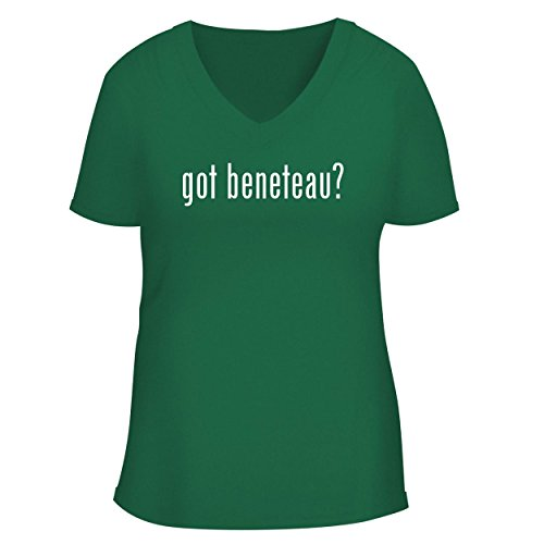 (BH Cool Designs got Beneteau? - Cute Women's V Neck Graphic Tee, Green, Small)