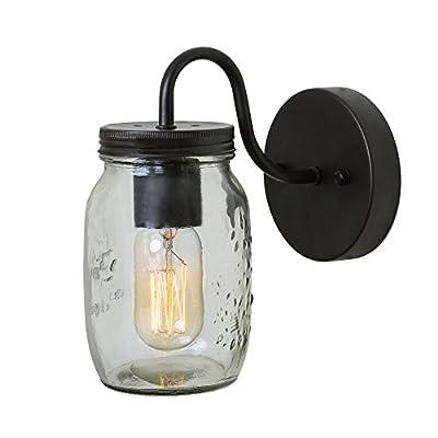 LNC 1-light Wall Sconce Glass Wall Sconces Jar Wall Lamp Sconces Wall Lighting Use E26 Bulb