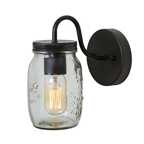 LNC 1-light Wall Sconce Glass Jar Wall Sconces Mason Jar Wall Lamp Sconces Vanity Lighting