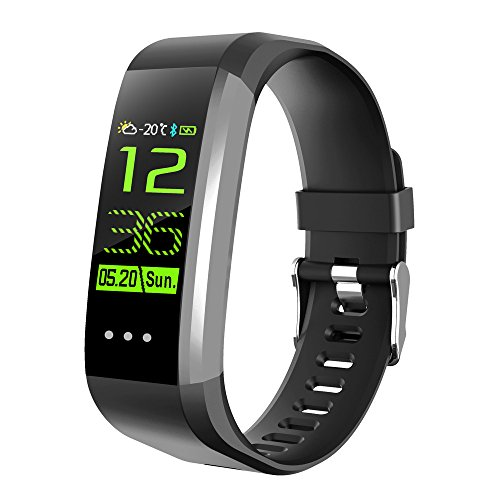 Price comparison product image Boofab CK1 Smart Bracelet,  0.96 inch HD Touch Screen Fitness Tracker with Heart Rate & Blood Oxygen Pressure Monitor Watch Bracelet,  IP67 Waterproof Sport Watch for IOS Android Smartphones (Black)
