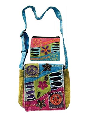 Patchwork Peace Sign Cross Body Small Messenger Shoulder Bag & Large Coin Money Purse Bundle Embroidered Tie Dye