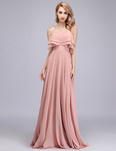 with Strapless Party Ruffles Women CLOTHKNOW Chiffon Lavender for Shoulder Gowns Long Wedding Bridesmaid Girls Dresses to TnXHw