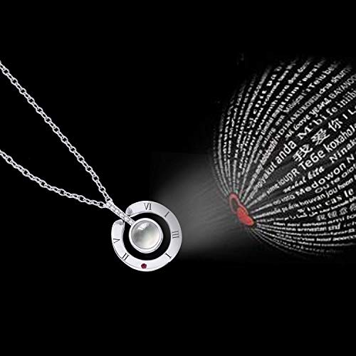 Inf-way I Love You Necklace, 100 Languages Projection on Round Onyx Pendant Loving Memory Collarbone Necklace 1 Pcs (925 Sterling Silver) by Inf-way (Image #6)