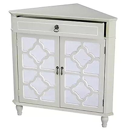 Amazon Com Corner Floor Cabinet With Mirror Double Door Single