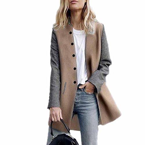 ManxiVoo Womens Coat Lady Casual Long Sleeve Cardigan Jacket Coat Patchwork Jumper Knitwear (XL, Gray) - Fitch Lady Jacket
