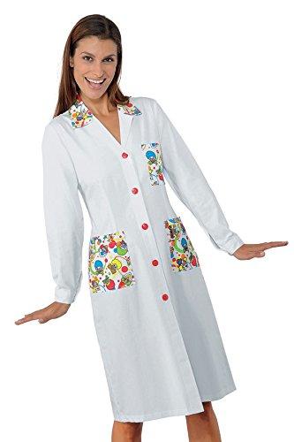 a Cotone m2 65 Tessuto Camice Donna Smile Bianco Bianco Manica Poliestere 150 Isacco 18100 gr Mezza M 35 Bottoni pressione X78Tnn6