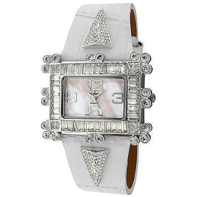 Peugeot Women's 'Couture039; Crystal-accented White Leather Strap Watch Steko LTD