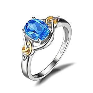 JewelryPalace Love Knot 1.5ct Natural Swiss Blue Topaz Diamond Accented Promise Ring 925 Sterling Silver 18K Yellow Gold Size 6