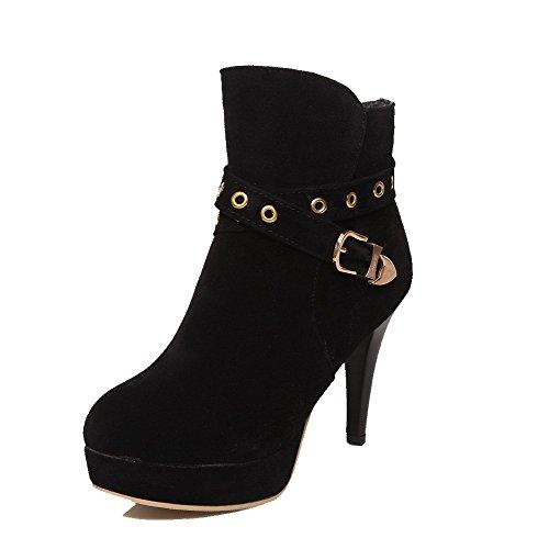 3e63ef7b059 MayMeenth Women s Low top Solid Zipper Round Closed Toe High-Heels Boots  best