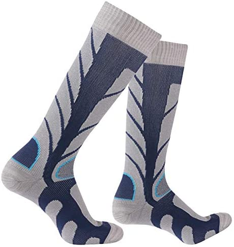 RANDY SUN 100%防水通気性ソックス ユニセックス アウトドア マルチパフォーマンス ハイキング/サイクリング/ランニングソックス 1 Pair-Cyan-Knee High Socks Medium
