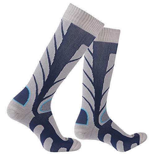 RANDY SUN Waterproof Breathable Socks, Unisex Coolmax Cycling Running Trekking Knee Length Socks, 1 Pair-Cyan-Knee High Socks,Medium (Knee Socks Length)