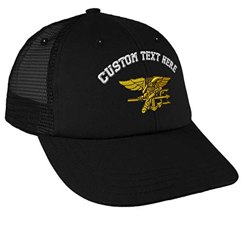 Custom Snapback Baseball Cap U.S. Navy Seal Embroidery Design Cotton Mesh Hat Snaps Black Personalized Text Here
