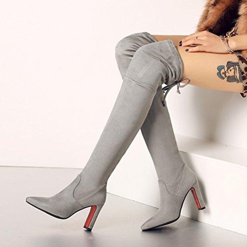 Chaussures Cuir Automne Femmes Stiletto Lacets Sur Le Hauts Talons Pointu Genou Nubuck D'hiver En Bottes Dos Bout Gris Des Agodor qtSBwgTfw