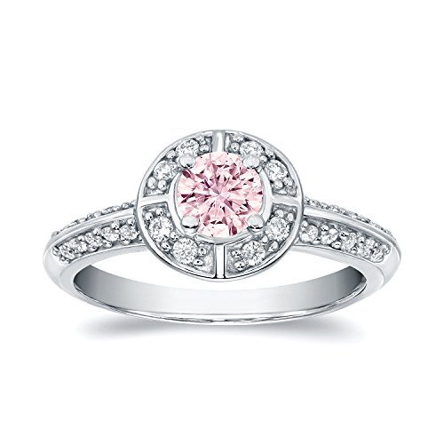 14k White Gold Round-cut Fancy Pink Diamond Halo Engagement Ring (3/4 cttw, Pink, H-I, SI1-SI2) (Pink Diamond Fancy Ring)