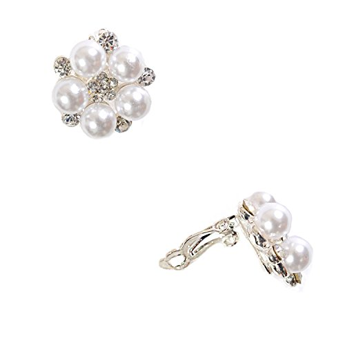 Silver Crystal While Pearl Flower Shape Clip Earrings
