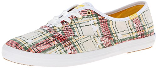 Keds Women's Champion Distressed Plaid Fashion Sneaker, White, 8 M (Plaid Shoes)