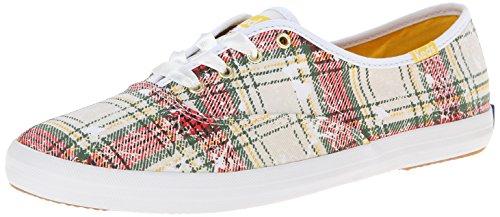 Keds Women's Champion Distressed Plaid Fashion Sneaker, White, 8 M (Plaid Shoes)