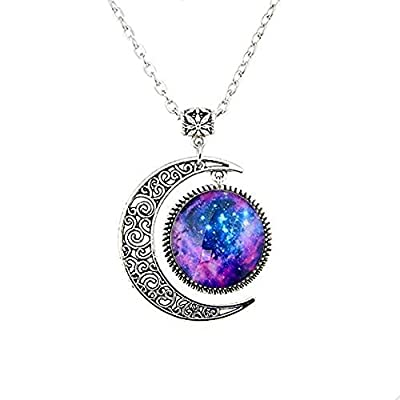 Wholesale Women Fashion Crescent Moon Pendant Necklace Charm Sky Galaxy Universe Time Gem Necklace (Type5)