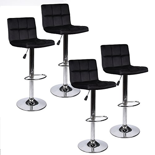PULUOMIS Modern Square Flannel Adjustable Bar Stools With Back,Set of 4,Counter Height Swivel St ...