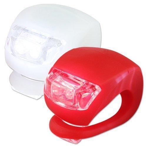 Neu 2 LED Silikon Clip-On FahrradBeleuchtung Bicycle Bike Wasserdicht Leuchten 1 weiße & 1 rote Leuchte