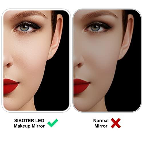 Specchio Trucco con Luci, Specchio Trucco, Specchio Camera da Letto USB Ricaricabile, Specchio da Tavolo con 3 Modalità di Illuminazione a Colori