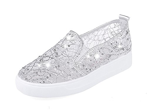 Aisun Women's Trendy Gauze Sequin Round Toe Elastic Slip On Sneakers Platform Loafers Shoes Silver 4 B(M) US