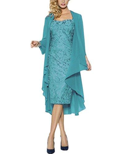 Mother Tea Jacket Bride Length Women's the Lace Blue with Dresses Silver of Fanciest nqBI5Ux
