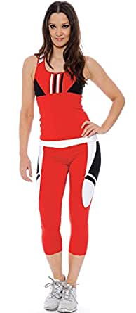 True Rock Women's Two-piece Yoga Apparel (Small, Red)