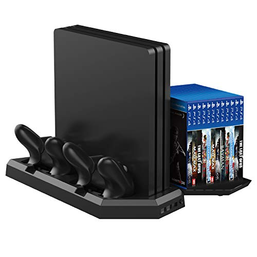 MOCREO Vertical Stand with Cooling Fan for PS4 / PS4 Pro, Dual Controller Charger Station with 12 Game Storage and Dualshock Charger with 3 Extra USB HUB Port