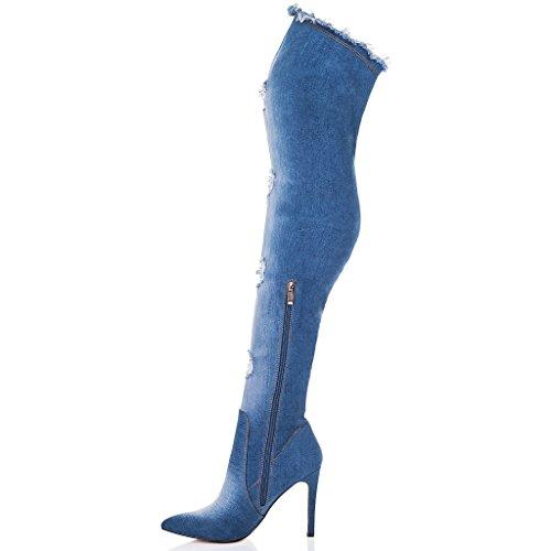 mosqueteras Denim Aguja de Mujer Botas SPYLOVEBUY Azul Tacón POSE wPq68