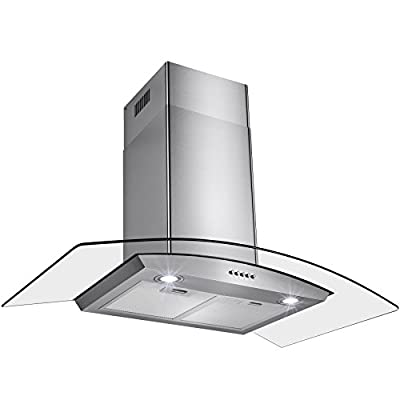 "Perfetto Kitchen and Bath 36"" Convertible Wall Mount Range Hood in Stainless Steel with LEDs, Push Controls & Tempered Glass"