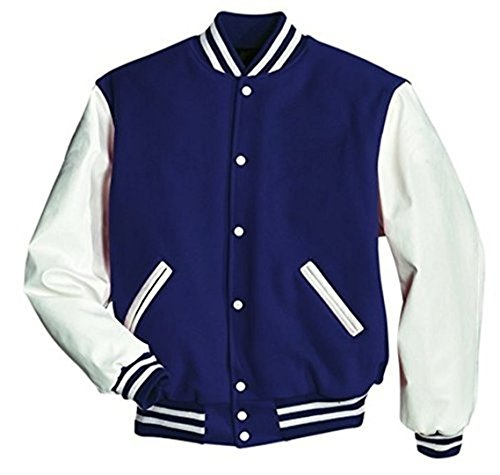 Original Windhound College Jacke oxford blau mit weißen Echtleder Ärmel XXXL