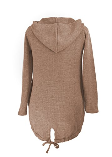 4sold (TM)–Cárdigan para mujer manga larga con capucha y bolsillos poncho, mujer, cardigan coffee, universal cardigan coffee