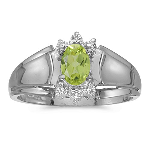 - 0.40 Carat (ctw) 14k White Gold Oval Green Peridot and Diamond Accent Anniversary Fashion Ring (6 x 4 MM) - Size 8
