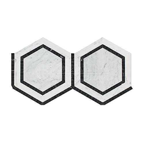 Carrara White Italian (Bianco Carrara) Marble 5 inch Hexagon Combination Mosaic Tile with Black Ribbon, -
