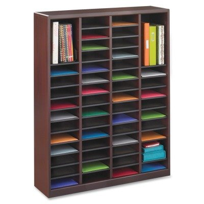 Safco Products 9331MH E-Z Stor Wood Literature Organizer, 60 Compartment, Mahogany Safco Workspace Wood